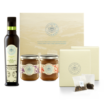 Assorted gift box - Olive oil / Tea / Jams